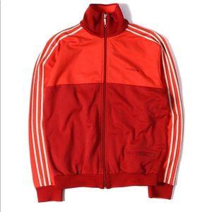 Adidas men's zip up track jacket trefoil red XL